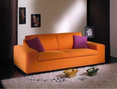 Divano sfoderabile in tessuto colore arancione rieti