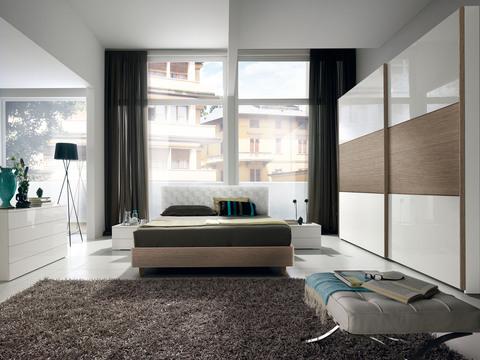 Camera moderna laccato bianco e rovere grigio roma for Camera roma