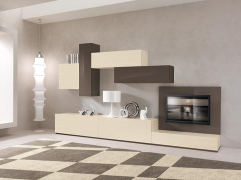 Soggiorno moderno a parete bianco lucido viterbo sconto for Soggiorno moderno grigio e bianco
