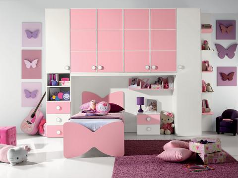 Cameretta per bambina rosa e bianca valentini for Cameretta rosa