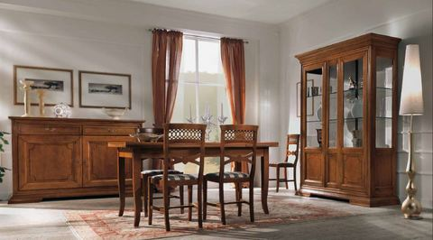 Armadio classico avorio con decoro giallo roma - Arredo sala da pranzo ...