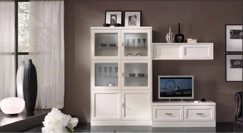 Mobile bianco per soggiorno stile classico tempo d 39 arredo for Arredamento classico bianco