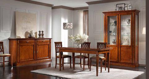 Sala da pranzo con credenza e vetrina stile classico roma