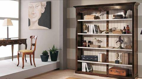 Libreria a giorno con ripiano in legno tempo d'arredo lazio