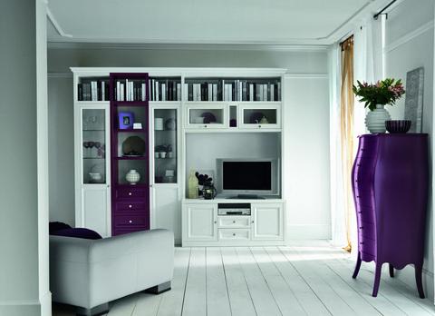 Mobile soggiorno classico bianco e melanzana lazio