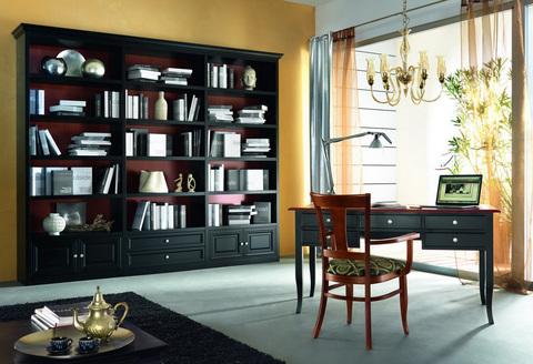 Mobile classico con libreria laccato nero opaco roma
