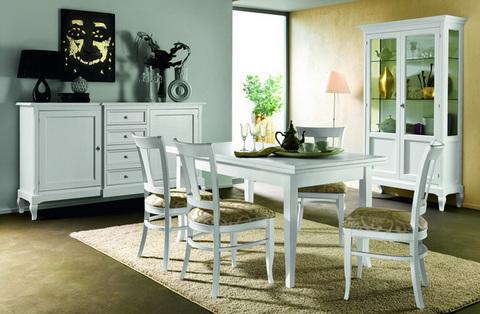 Sala da pranzo colore bianco in stile classico lazio