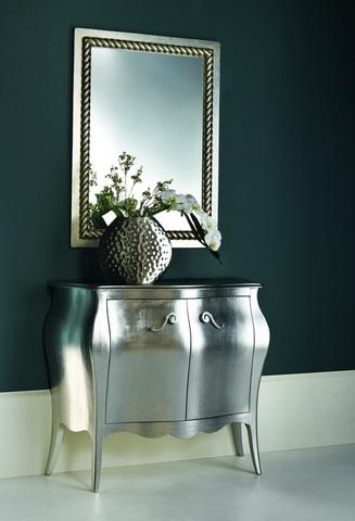 Mobile due ante colore argento con specchiera roma