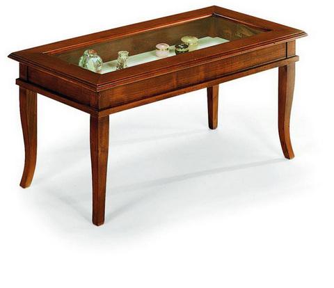 Tavolino basso in noce con vetrina alpe roma