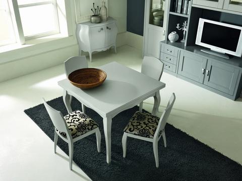 Tavolo quadrato con sedie colore bianco stile classico for Ingrosso arredamenti roma