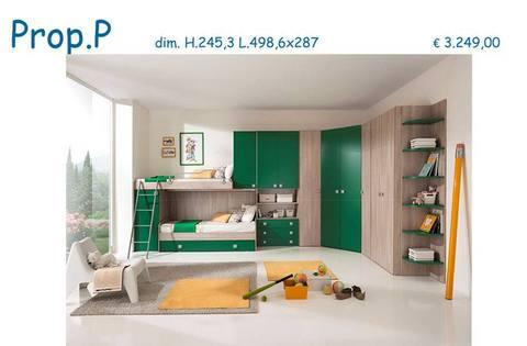 Cameretta moderna rovere grigio e verde smeraldo roma