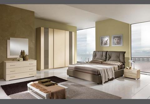 Camera in larice panna letto in tessuto gruppo silwood roma