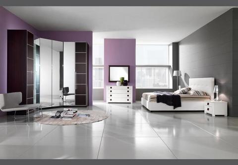 Camera moderna in melaminico bianco lucido e rovere moro mcs