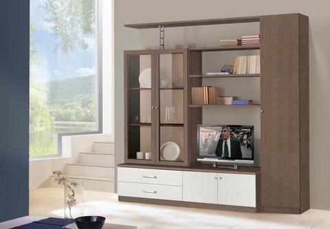 Mobile soggiorno con vetrine bianco lucido e larice grigio