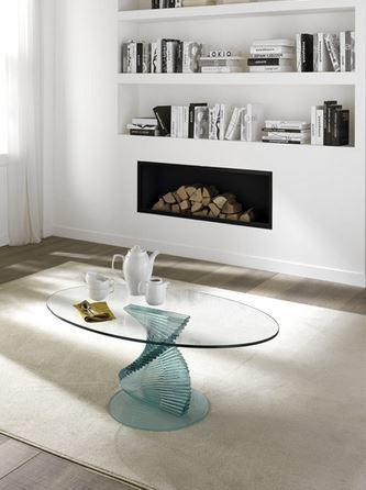 Tavolino in vetro ovale zamagna roma