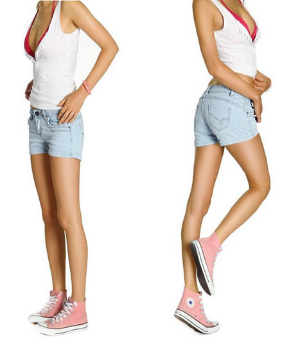 Shorts jeans vita bassa da donna
