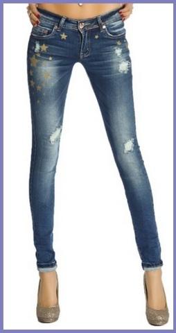 Jeans alla moda stretti con stelline