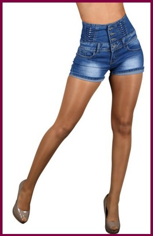 Pantaloncini alti in jeans per donna