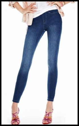 Leggings A Forma Di Jeans Con Tasche Sul Retro