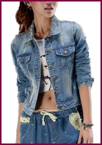 Giacca in jeans slim donna denim