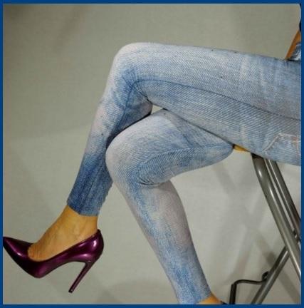 Leggings Con Effetto Jeans Con Strass