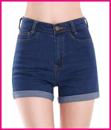 Pantaloncini vita alta jeans blu