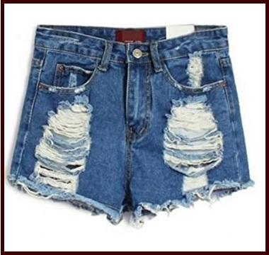 Jeans corti pantaloncini rotti alla moda