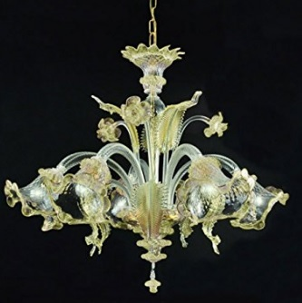 Lampadario in vetro murano ambra dorato