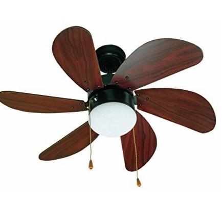 Lampadario ventilatore in legno di mogano