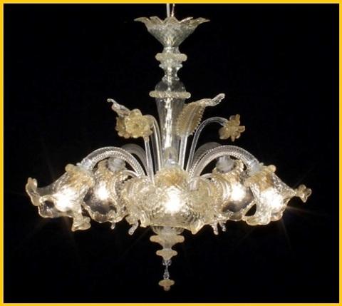 Lampadario nero trasparente in vetro di murano