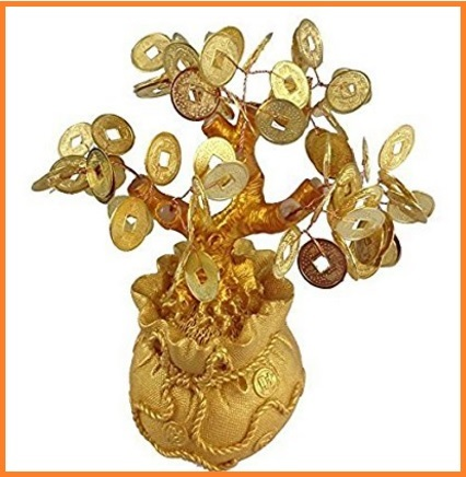 Albero di feng shui bonsai in oro