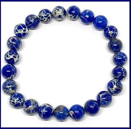 Bracciale in pietre diaspro dal colore blu e bianco