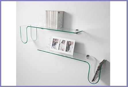 Mensole design, in vetro curvato e trasparente