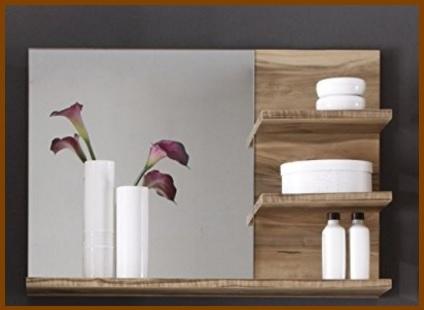 Mensole bagno, in legno noce con specchio incorporato