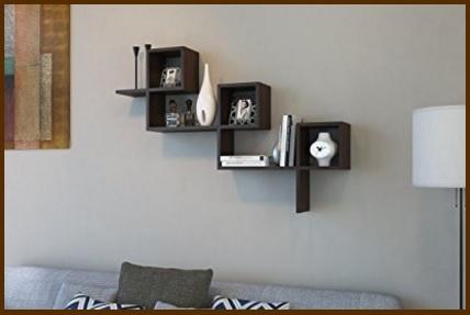 Mensole soggiorno da muro, scaffale pensile wengè - Sconto ...