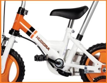 Bicicletta con rotelle e palo per bambini piccoli