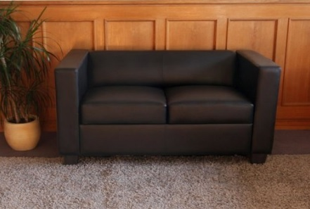 Divano Piccolo Moderno Sofa Nero In Pelle