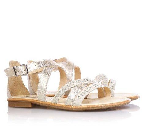 Sandalo dorato in pelle e camoscio con strass