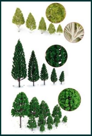Modellismo ferroviario accessori per plastici alberi
