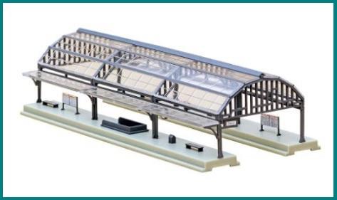 Modellismo ferroviario online banchina con copertura in vetr