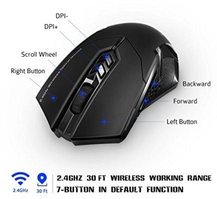 Mouse gaming wireless senza fili victsing