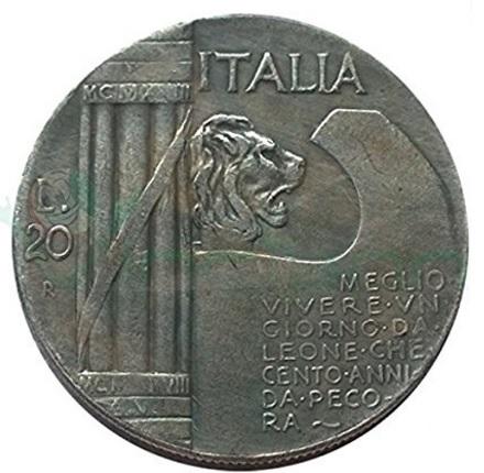 Moneta fascismo mussolini con leone littorio