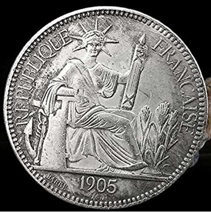 Moneta collezione repubblica francese indocina 1908