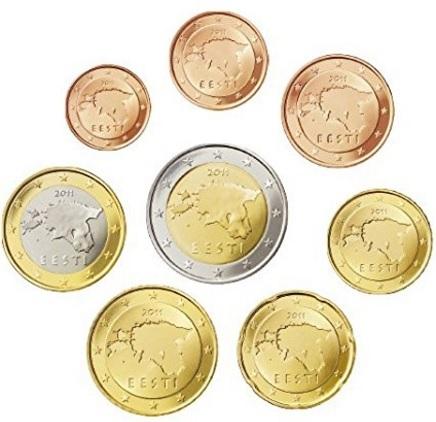 Monete euro estonia collezione completa