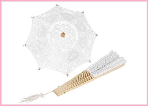 Ombrello da sposa grande ricamato