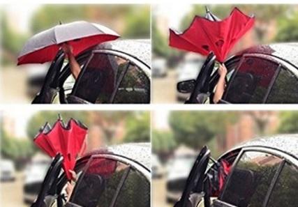 Ombrello con apertura inversa e impugnatura dritta