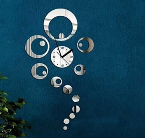 Orologio da parete con specchi cerchi tridimensionale