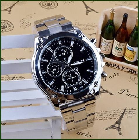 Orologio Cronografo In Acciaio E Quadrante Nero