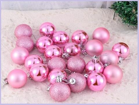 Palle di natale decorate e lucide rosa