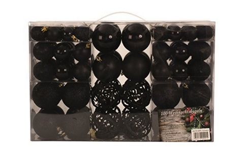 Palle decorative e ornamentali nere per natale